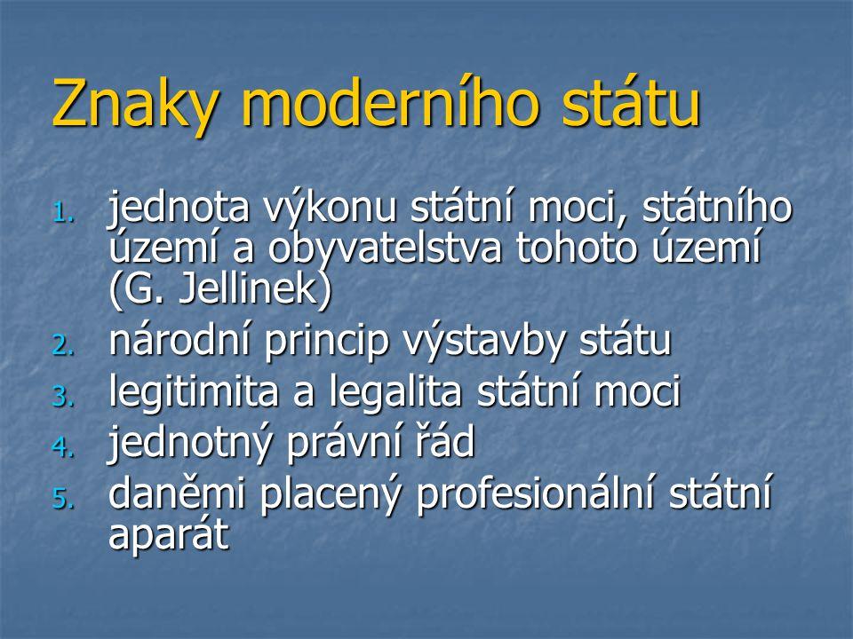 Znaky moderního státu jednota výkonu státní moci, státního území a obyvatelstva tohoto území (G. Jellinek)