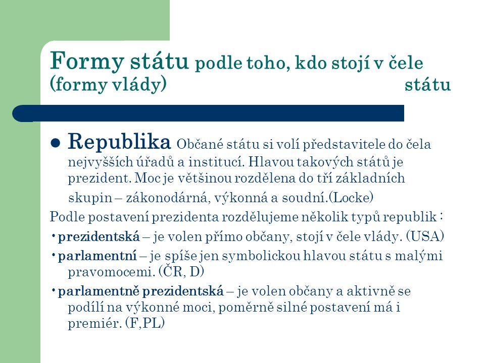 Formy státu podle toho, kdo stojí v čele (formy vlády) státu