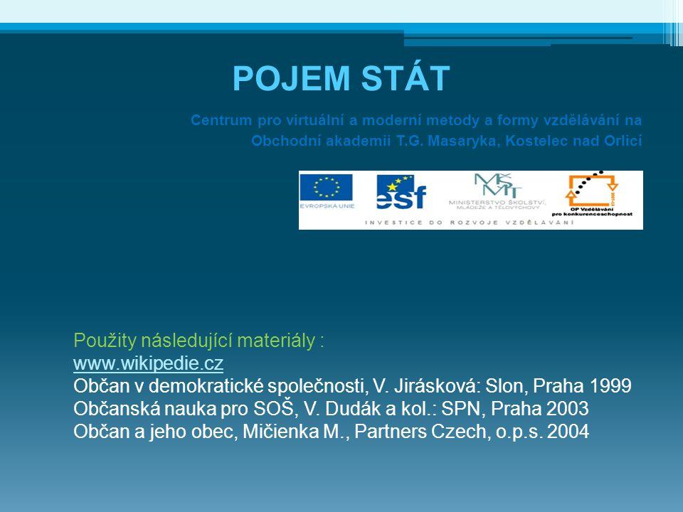 POJEM STÁT Použity následující materiály : www.wikipedie.cz