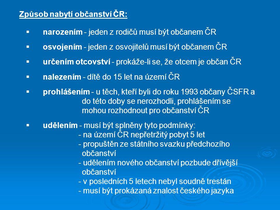 Způsob nabytí občanství ČR: