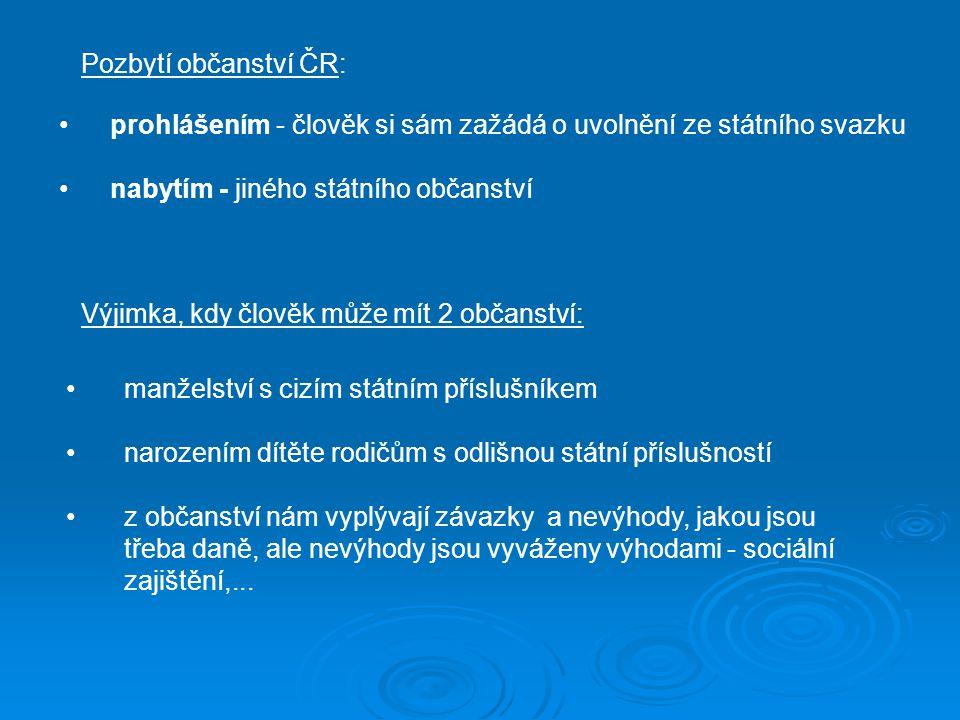 Pozbytí občanství ČR: prohlášením - člověk si sám zažádá o uvolnění ze státního svazku. nabytím - jiného státního občanství.