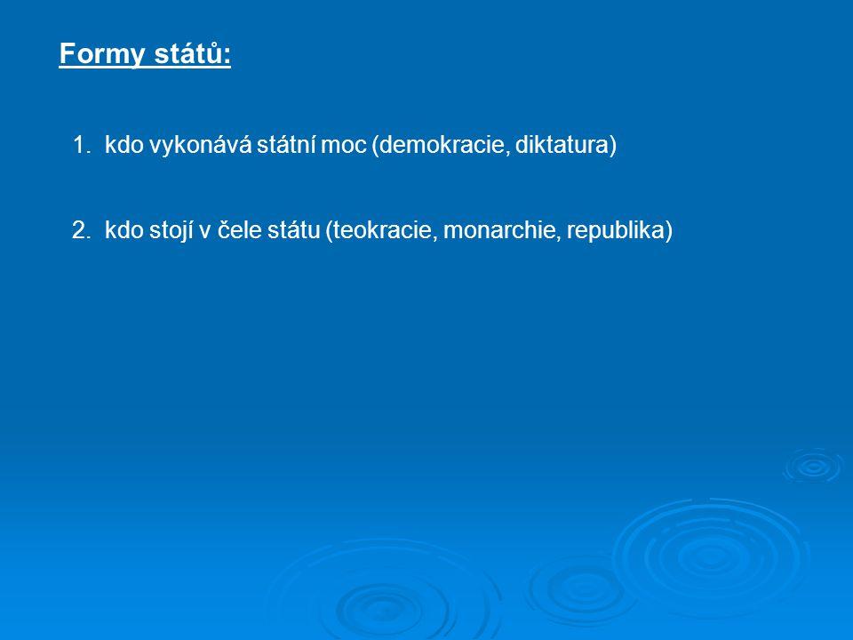 Formy států: 1. kdo vykonává státní moc (demokracie, diktatura)
