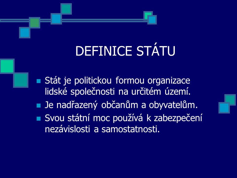 DEFINICE STÁTU Stát je politickou formou organizace lidské společnosti na určitém území. Je nadřazený občanům a obyvatelům.
