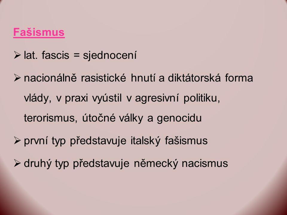 Fašismus lat. fascis = sjednocení.