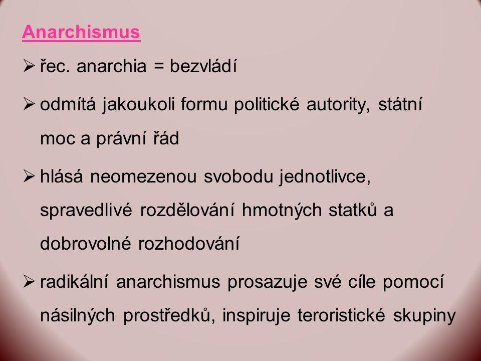 Anarchismus řec. anarchia = bezvládí. odmítá jakoukoli formu politické autority, státní moc a právní řád.