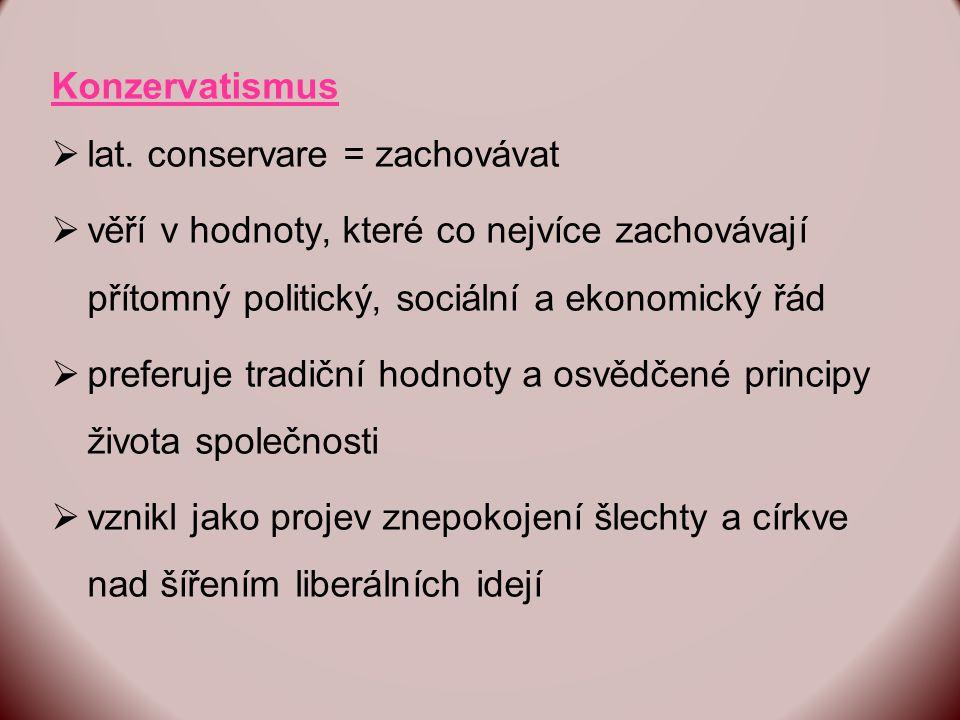 Konzervatismus lat. conservare = zachovávat. věří v hodnoty, které co nejvíce zachovávají přítomný politický, sociální a ekonomický řád.