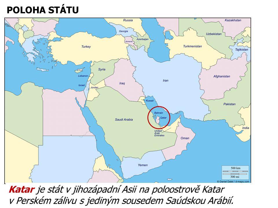 POLOHA STÁTU Katar je stát v jihozápadní Asii na poloostrově Katar v Perském zálivu s jediným sousedem Saúdskou Arábií.