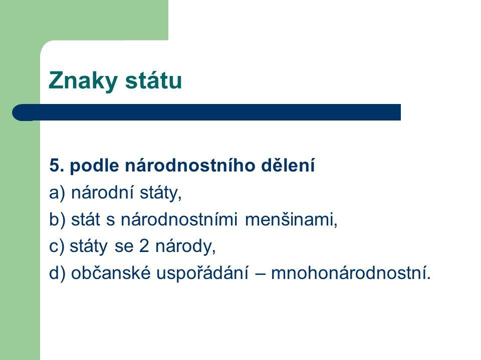 Znaky státu 5. podle národnostního dělení a) národní státy,