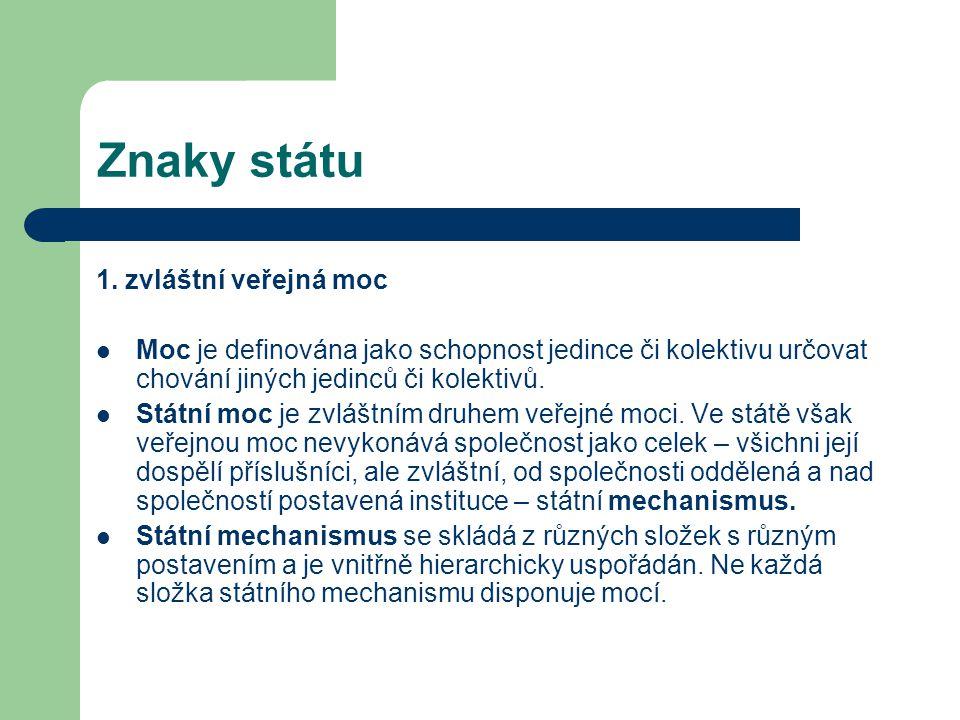 Znaky státu 1. zvláštní veřejná moc