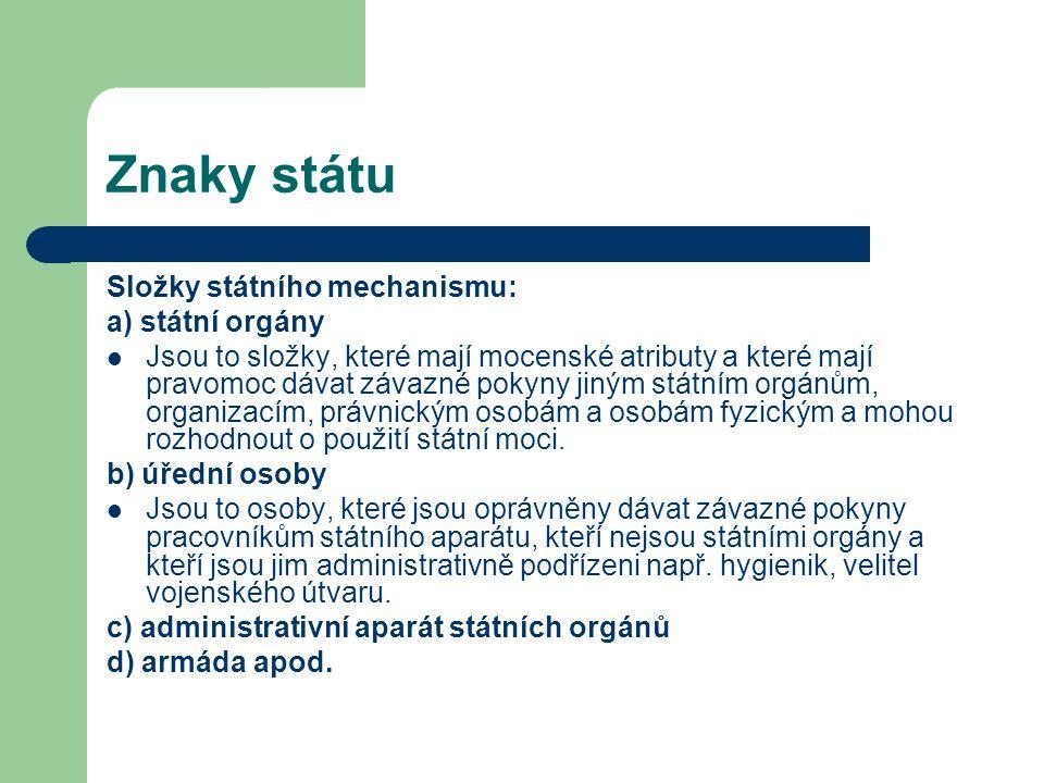 Znaky státu Složky státního mechanismu: a) státní orgány
