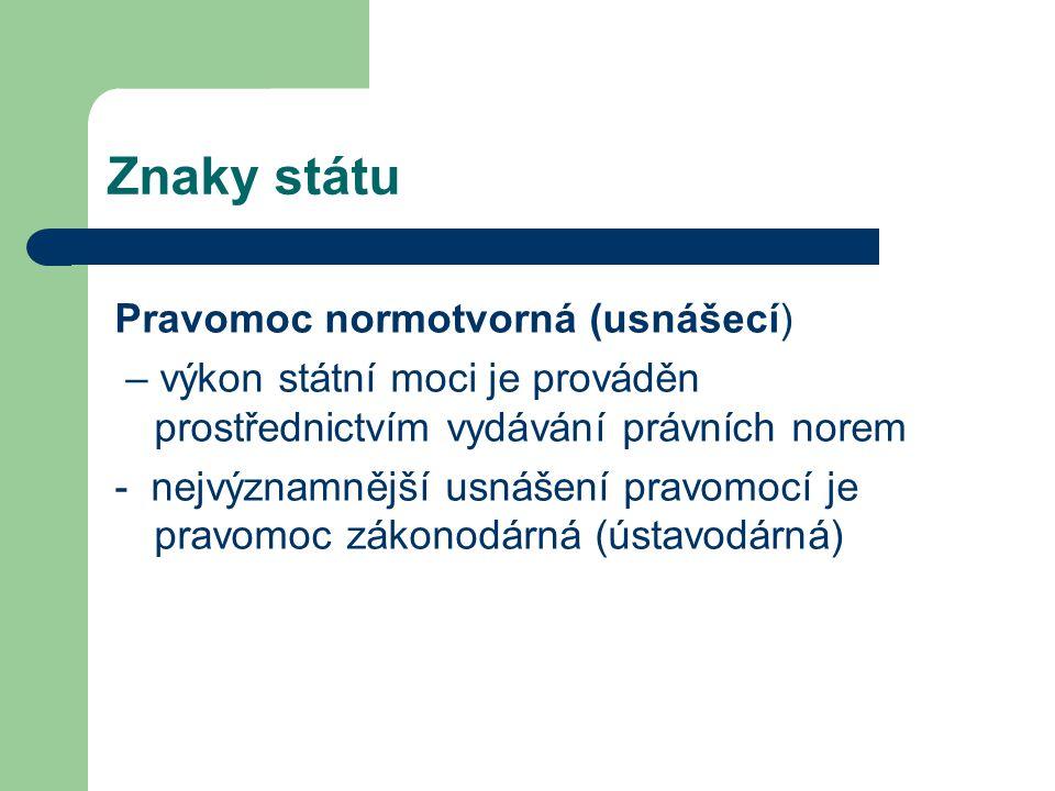 Znaky státu Pravomoc normotvorná (usnášecí)