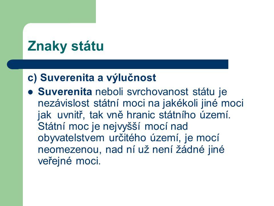 Znaky státu c) Suverenita a výlučnost
