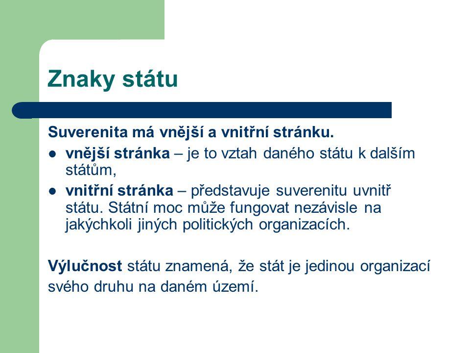Znaky státu Suverenita má vnější a vnitřní stránku.