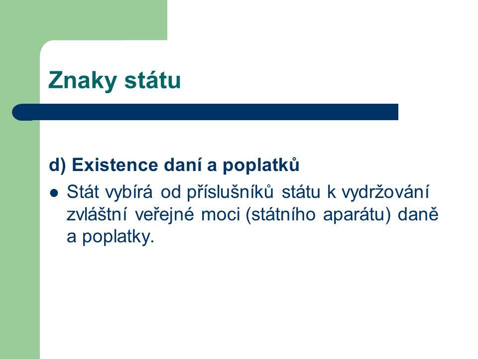 Znaky státu d) Existence daní a poplatků