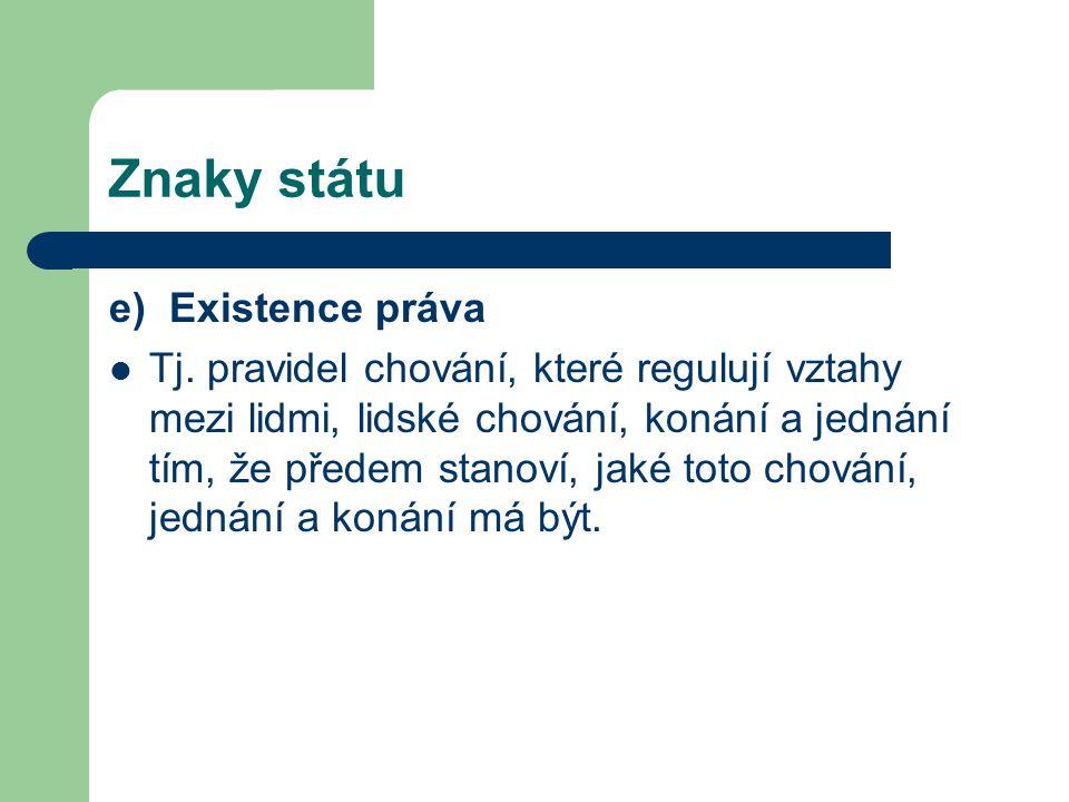 Znaky státu e) Existence práva