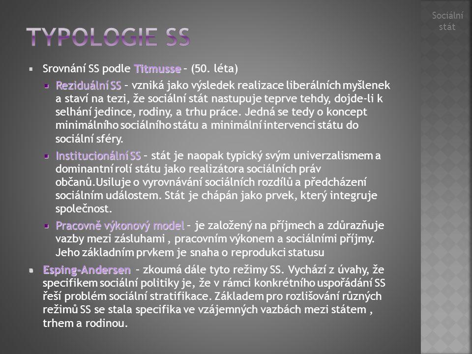 Typologie SS Srovnání SS podle Titmusse – (50. léta)