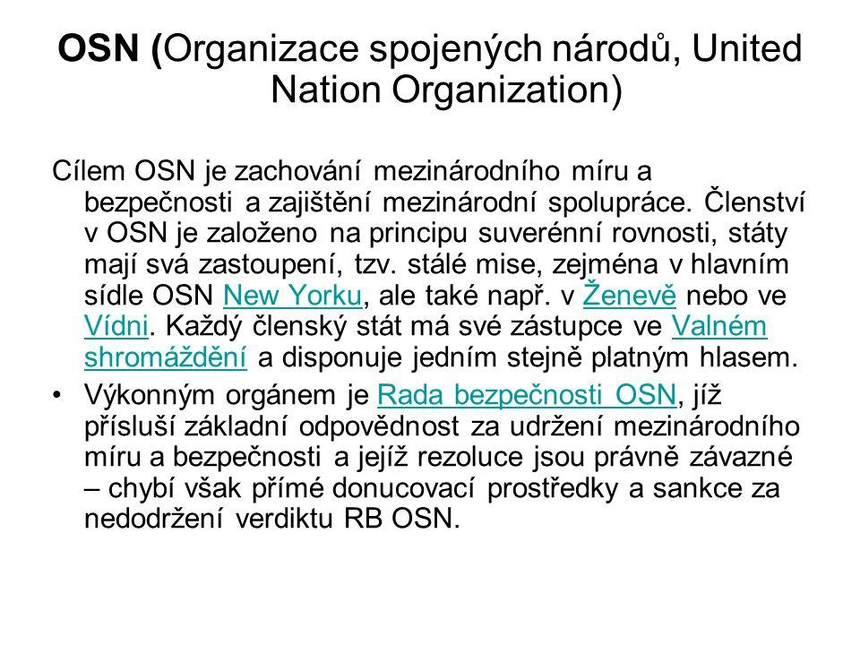 OSN (Organizace spojených národů, United Nation Organization)