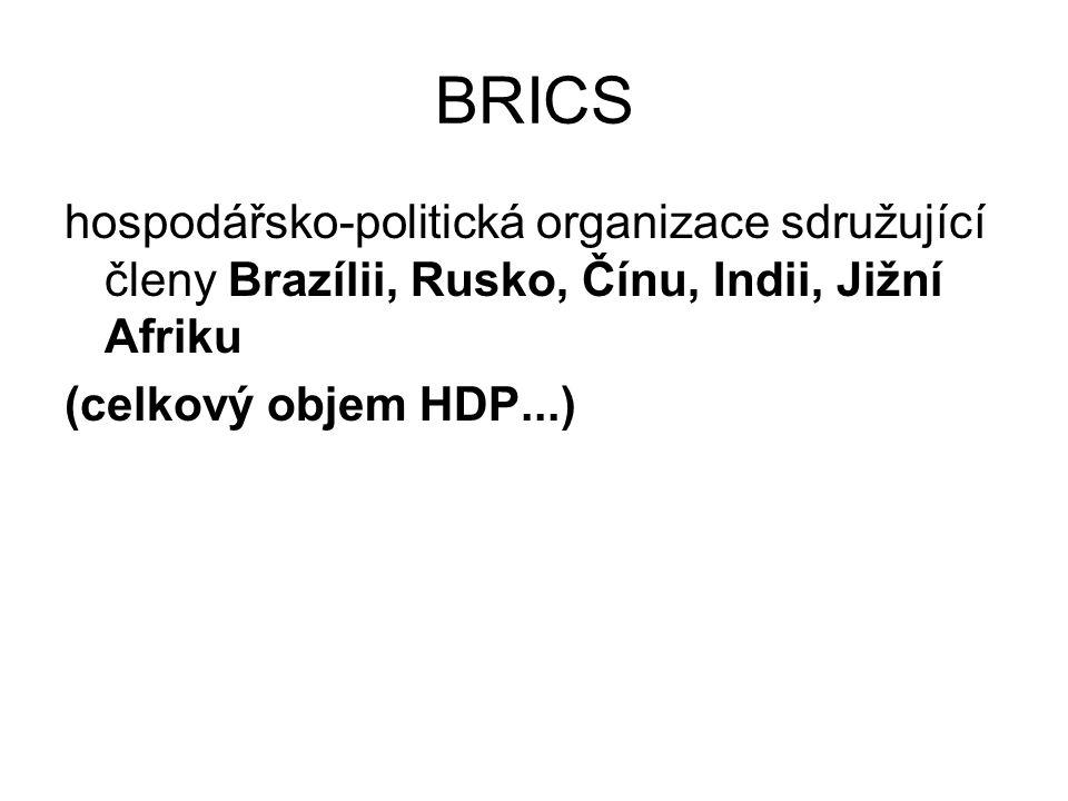 BRICS hospodářsko-politická organizace sdružující členy Brazílii, Rusko, Čínu, Indii, Jižní Afriku.