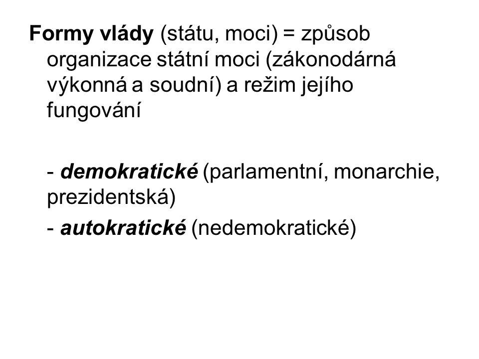 Formy vlády (státu, moci) = způsob organizace státní moci (zákonodárná výkonná a soudní) a režim jejího fungování
