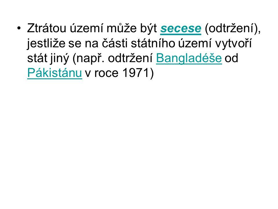 Ztrátou území může být secese (odtržení), jestliže se na části státního území vytvoří stát jiný (např.