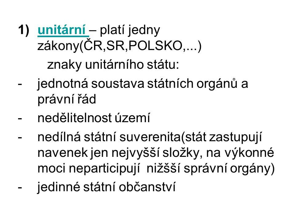 unitární – platí jedny zákony(ČR,SR,POLSKO,...)