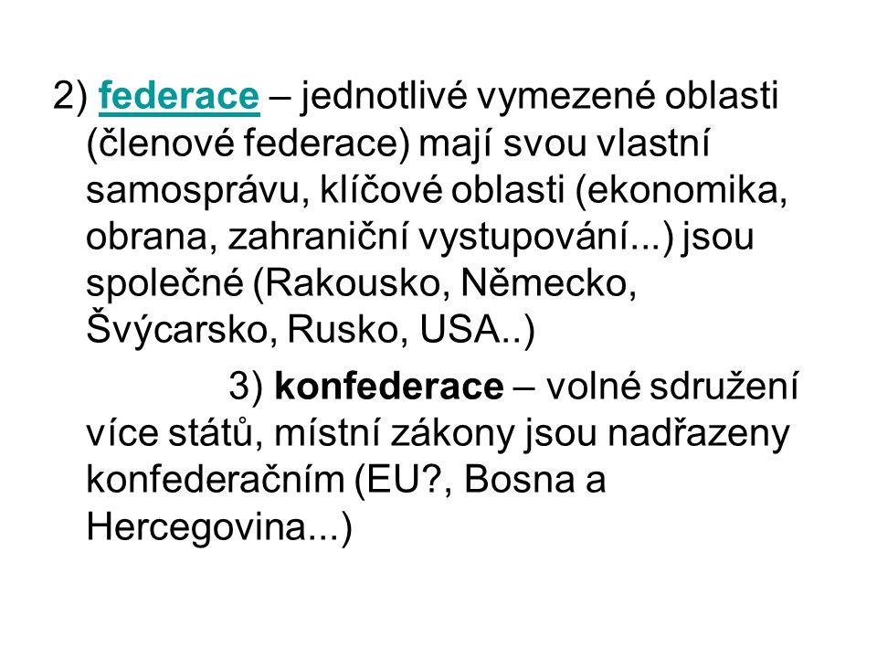 2) federace – jednotlivé vymezené oblasti (členové federace) mají svou vlastní samosprávu, klíčové oblasti (ekonomika, obrana, zahraniční vystupování...) jsou společné (Rakousko, Německo, Švýcarsko, Rusko, USA..)