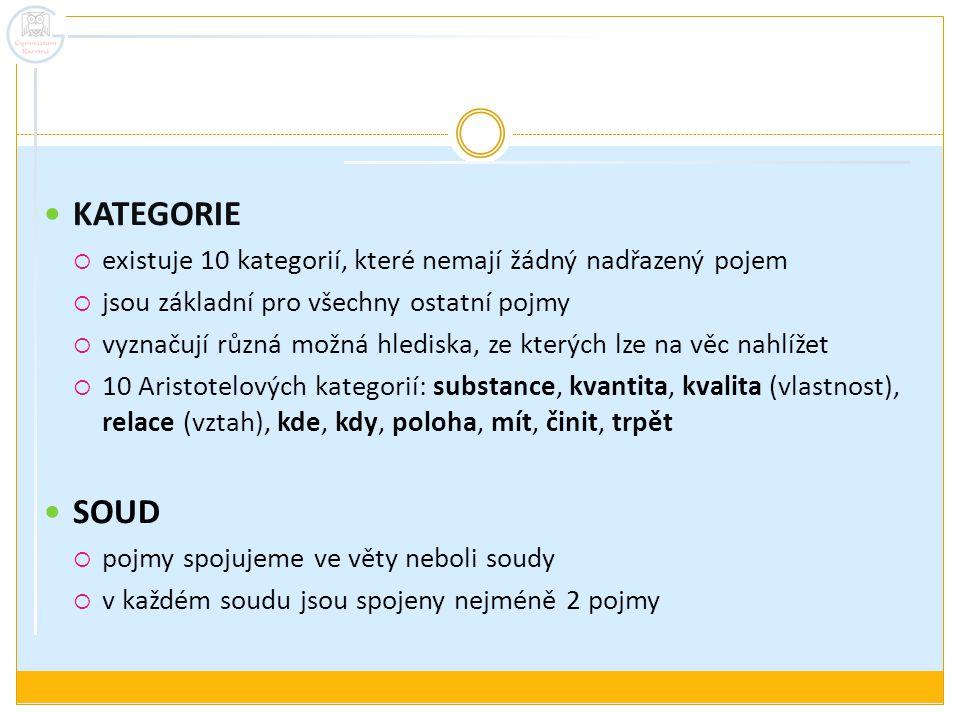 KATEGORIE existuje 10 kategorií, které nemají žádný nadřazený pojem. jsou základní pro všechny ostatní pojmy.