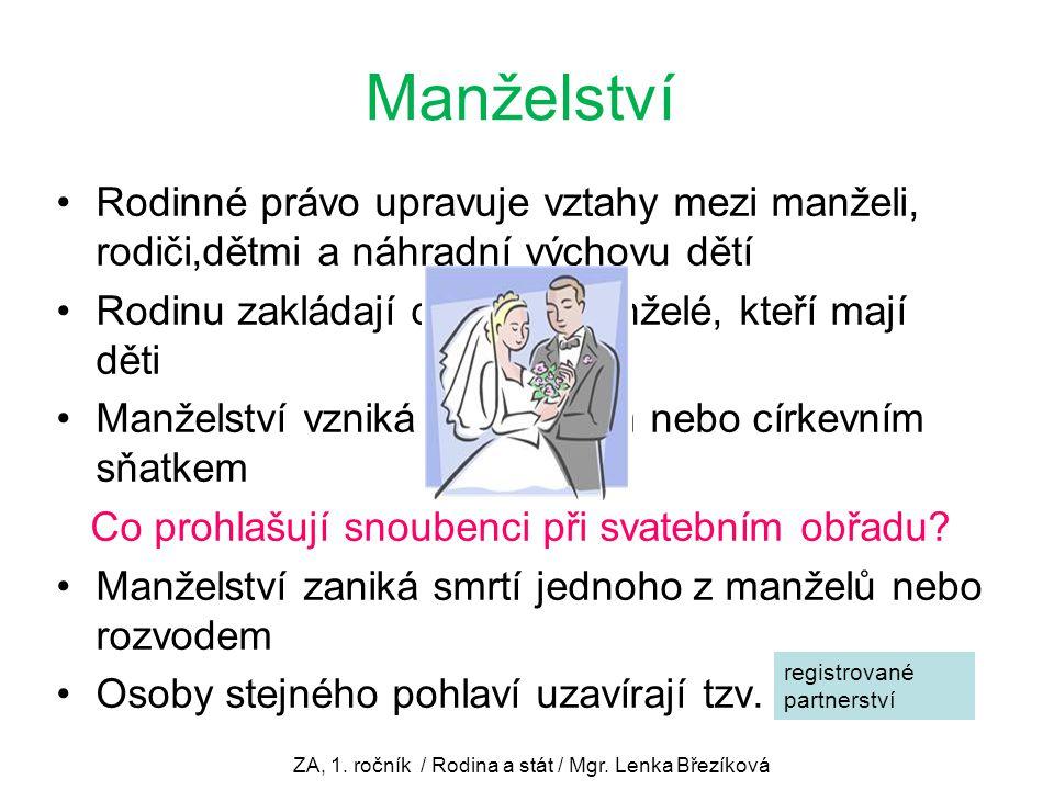ZA, 1. ročník / Rodina a stát / Mgr. Lenka Březíková