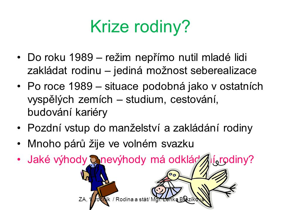 ZA, 1. ročník / Rodina a stát/ Mgr. Lenka Březíková