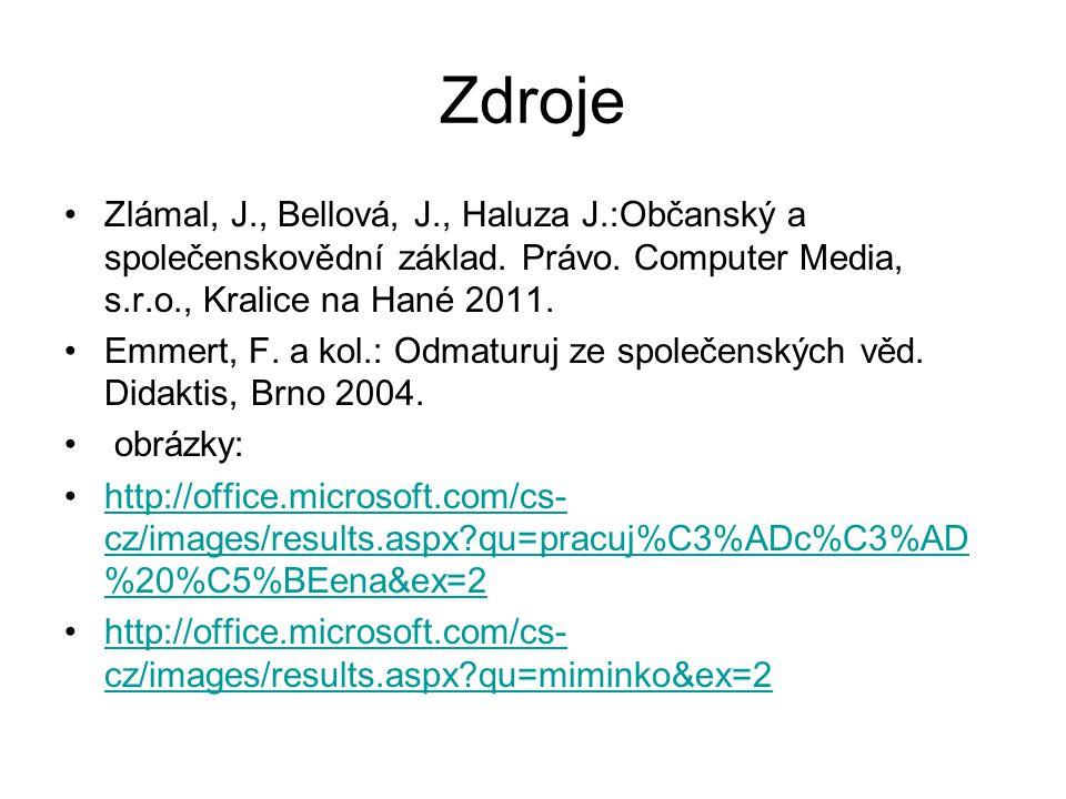Zdroje Zlámal, J., Bellová, J., Haluza J.:Občanský a společenskovědní základ. Právo. Computer Media, s.r.o., Kralice na Hané 2011.