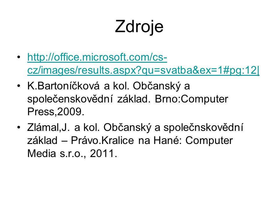 Zdroje http://office.microsoft.com/cs-cz/images/results.aspx qu=svatba&ex=1#pg:12|