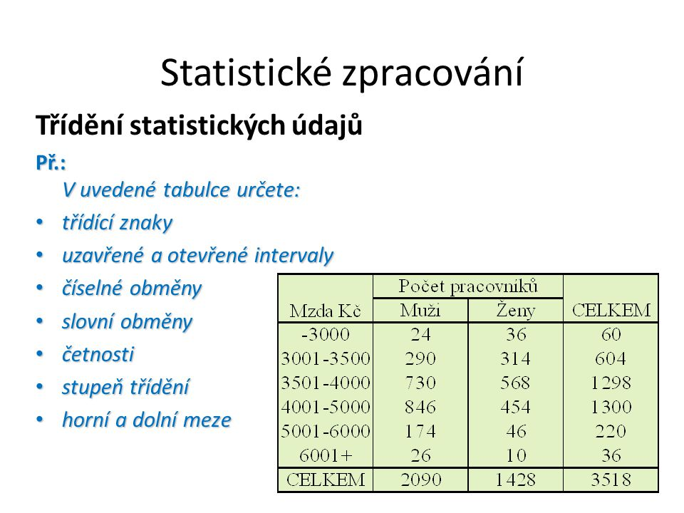 Statistické zpracování