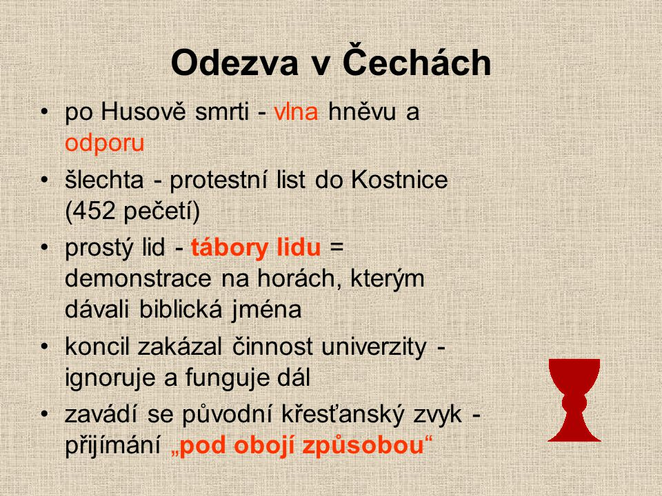 Odezva v Čechách po Husově smrti - vlna hněvu a odporu