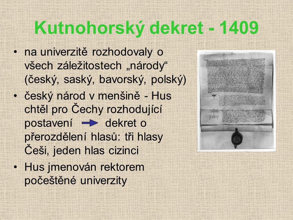 """Kutnohorský dekret - 1409 na univerzitě rozhodovaly o všech záležitostech """"národy (český, saský, bavorský, polský)"""