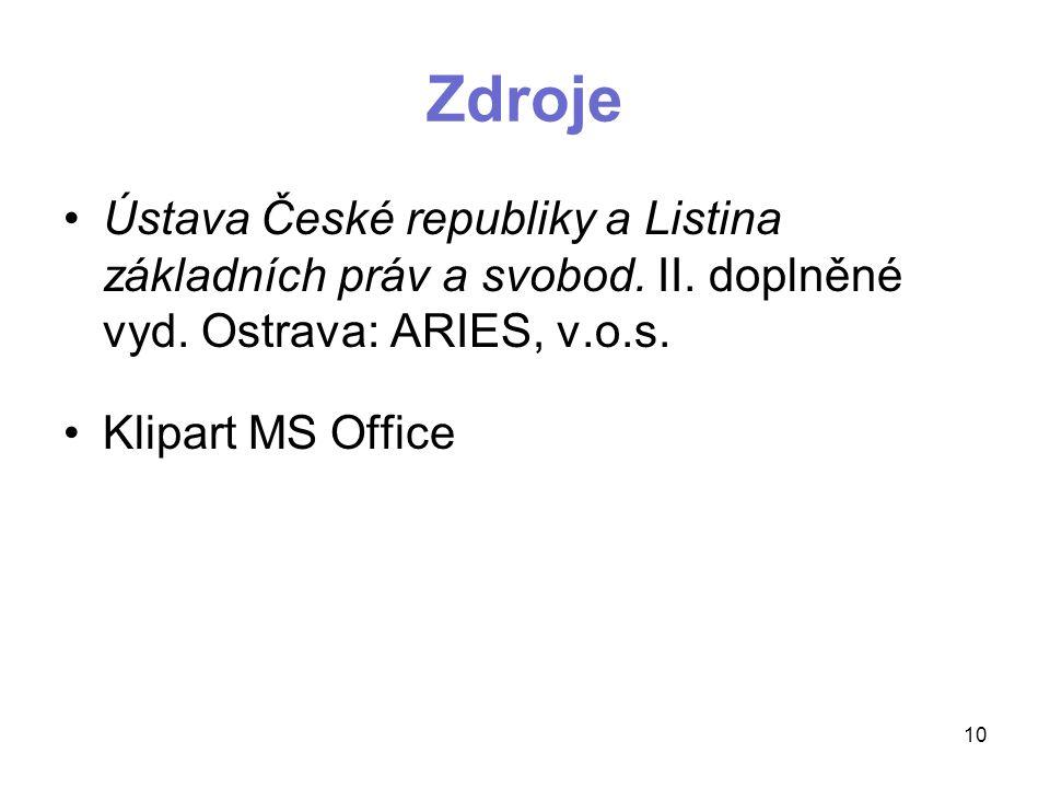 Zdroje Ústava České republiky a Listina základních práv a svobod. II. doplněné vyd. Ostrava: ARIES, v.o.s.