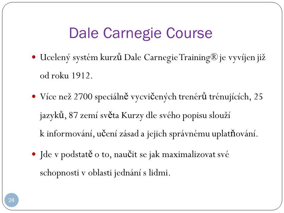 Dale Carnegie Course Ucelený systém kurzů Dale Carnegie Training® je vyvíjen již od roku 1912.
