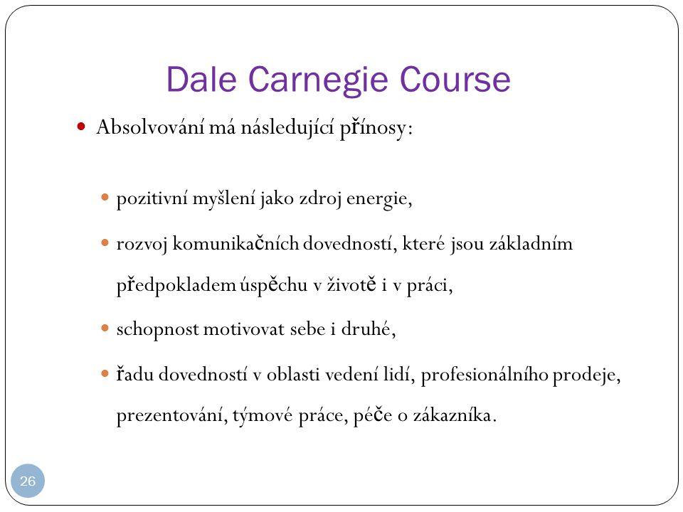 Dale Carnegie Course Absolvování má následující přínosy: