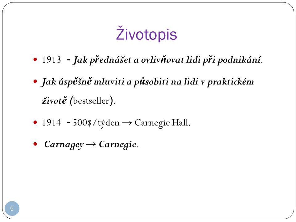 Životopis 1913 - Jak přednášet a ovlivňovat lidi při podnikání.