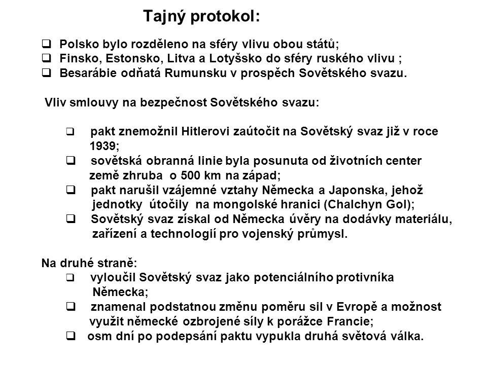 Tajný protokol: Polsko bylo rozděleno na sféry vlivu obou států;