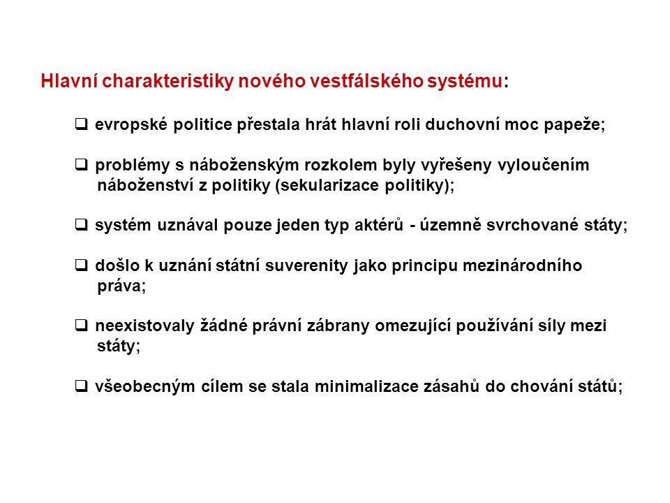 Hlavní charakteristiky nového vestfálského systému:
