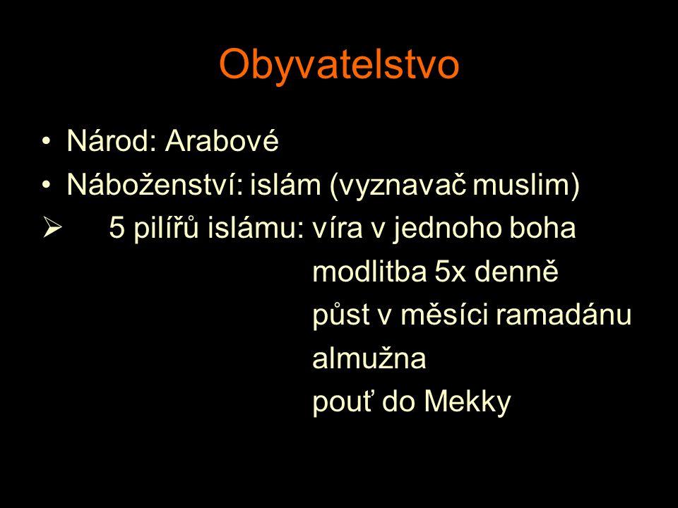 Obyvatelstvo Národ: Arabové Náboženství: islám (vyznavač muslim)