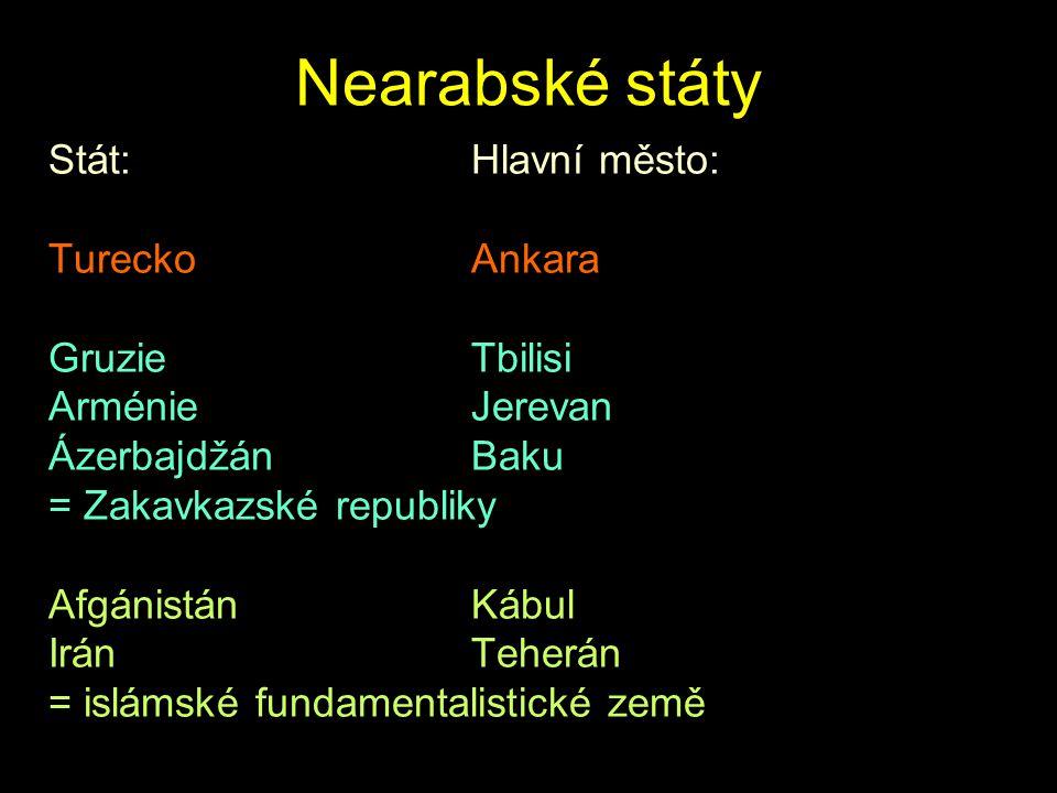 Nearabské státy Stát: Hlavní město: Turecko Ankara Gruzie Tbilisi