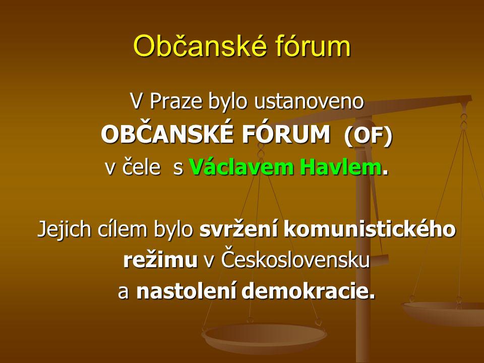 Občanské fórum OBČANSKÉ FÓRUM (OF) V Praze bylo ustanoveno