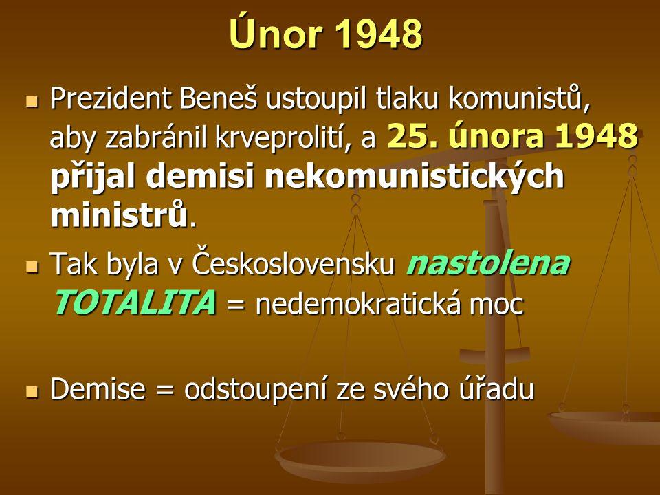 Únor 1948 Prezident Beneš ustoupil tlaku komunistů, aby zabránil krveprolití, a 25. února 1948 přijal demisi nekomunistických ministrů.
