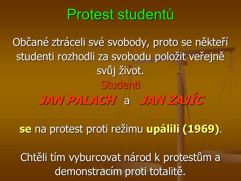 Protest studentů JAN PALACH a JAN ZAJÍC