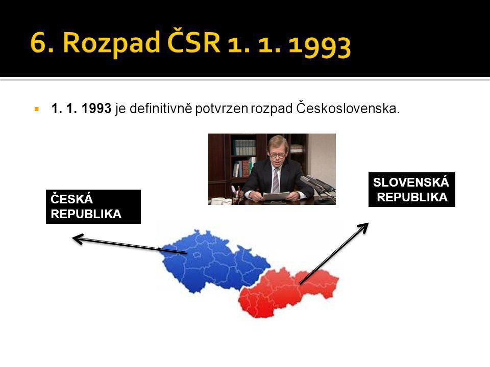 6. Rozpad ČSR 1. 1. 1993 1. 1. 1993 je definitivně potvrzen rozpad Československa. SLOVENSKÁ. REPUBLIKA.