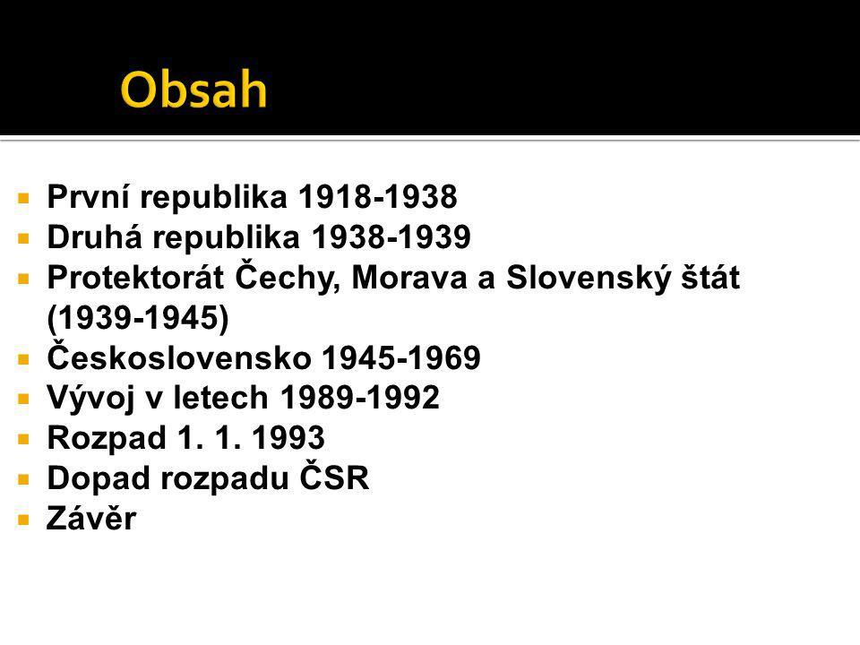 Obsah První republika 1918-1938 Druhá republika 1938-1939