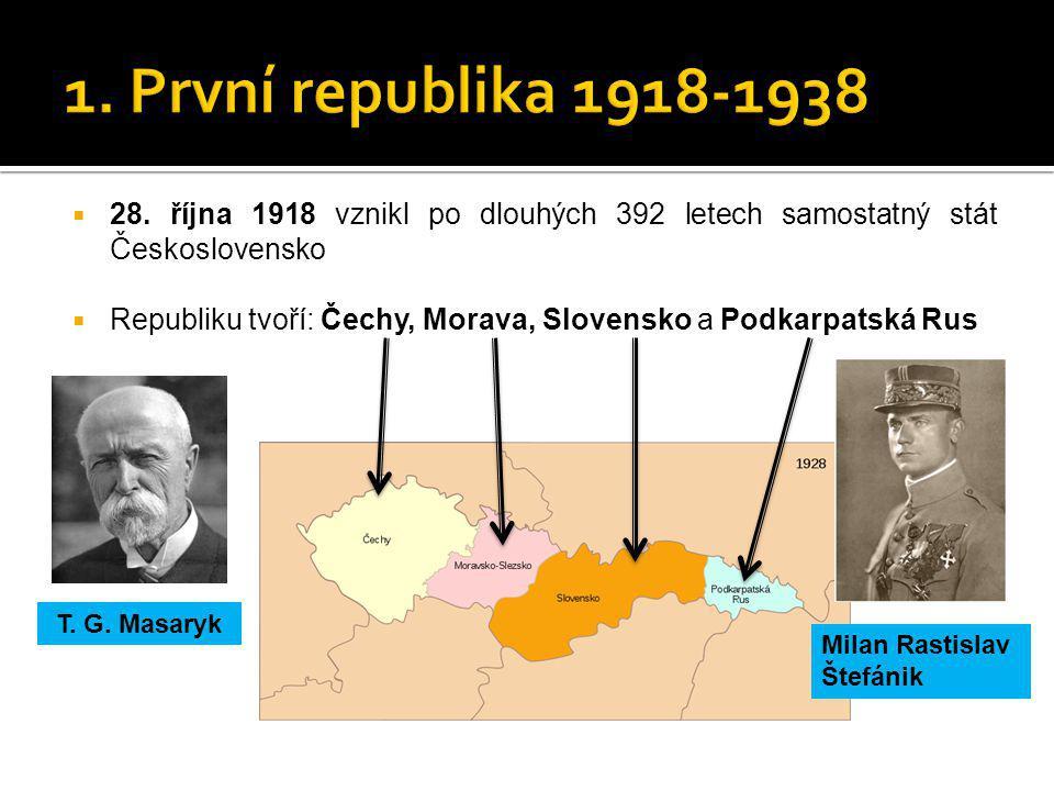 1. První republika 1918-1938 28. října 1918 vznikl po dlouhých 392 letech samostatný stát Československo.