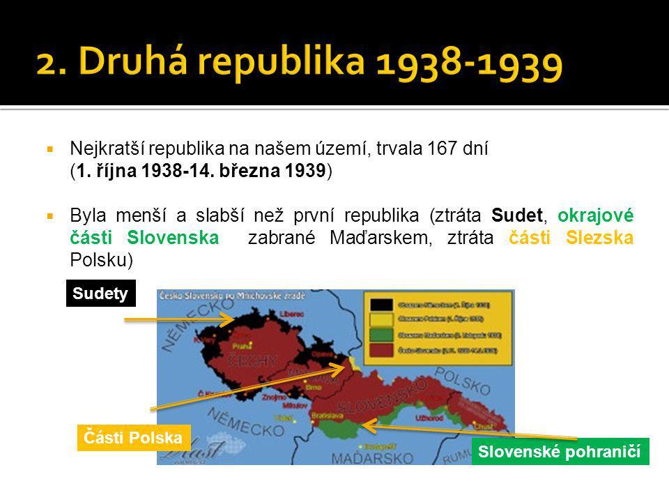 2. Druhá republika 1938-1939 Nejkratší republika na našem území, trvala 167 dní. (1. října 1938-14. března 1939)