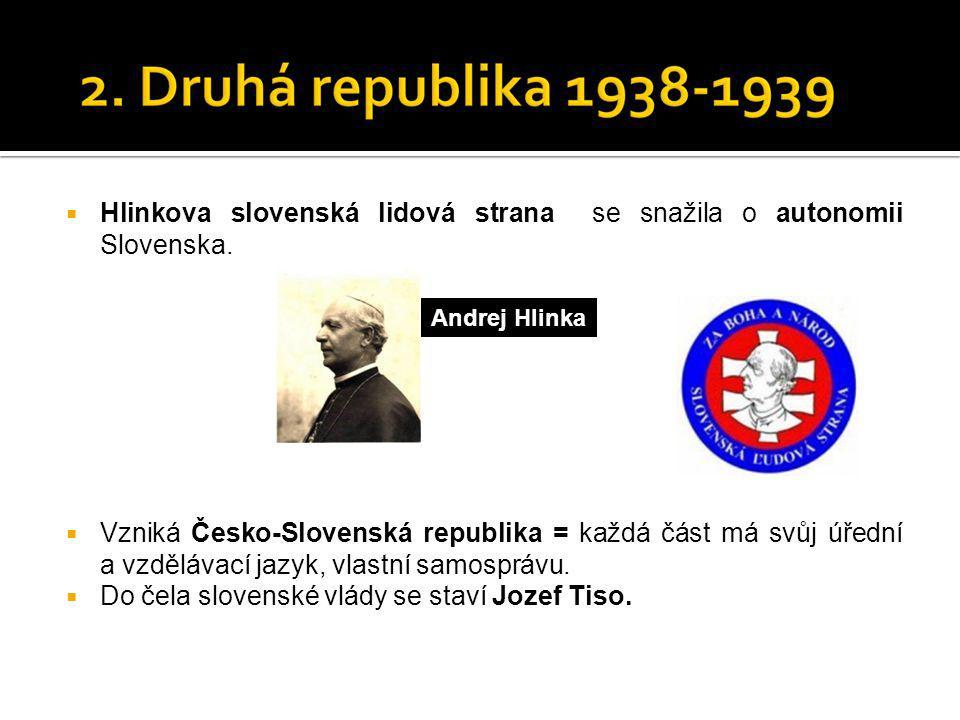 Hlinkova slovenská lidová strana se snažila o autonomii Slovenska.